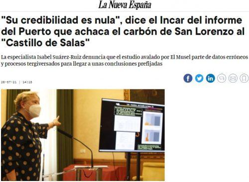 """""""Su credibilidad es nula"""", dice el INCAR del informe del Puerto que achaca el carbón de San Lorenzo al """"Castillo de Salas"""""""