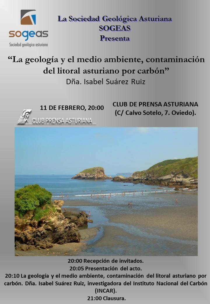 La geología y el medio ambiente, contaminación del litoral asturiano por carbón